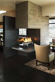 mid century modern three sided fireplace beauty