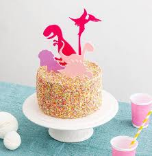 Pink Dinosaur Cake Toppers Childrens Birthday Party Etsy