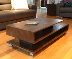 living room coffee table best contemporary design geometric shape brown lacquered finish rectangle wooden lower shelf