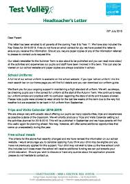 headteacher s letter july 2018