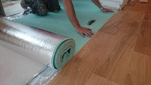 Cushion Heat Flow Being Installed Above Water Underfloor Heating.
