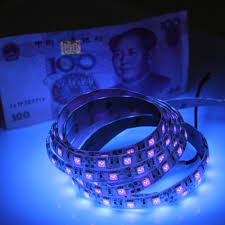 Black Light Led Strips For Cars Us 1 98 33 Off Dc12v 1 5m Uv Black Light Led Strip 5050 Smd 60led M Ip65 Non Waterproof Ultraviolet Ray Purple Flexible Tape Ribbon Lamp In Led