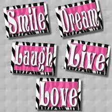 Pink And Zebra Bedroom Zebra Print Wall Art Decor Pink Smile Dream Live Laugh Love
