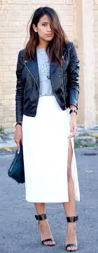 Gorgeous maxi skirts outfits ideas Crop Top White Maxi Skirt Leather Jacket Outfit Stayglam 25 Maxi Skirt Outfits Ideas Stayglam