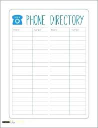 Cute Contact List Template Office Phone List Template