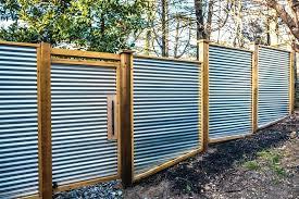 image of diy wood framed corrugated metal fence