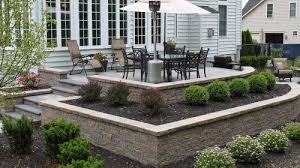 Backyard Landscaping Designs Beauteous Raisedpatiowithpavers By R R Landscape Design Landscaping