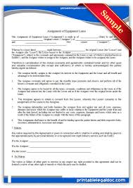 Equipment Lease Form Template Free Printable Assignment Of Equipment Lease Sample Printable 24