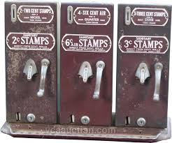 Old Stamp Vending Machine Simple CoinOp Vintage Sanitary Postage Stamp Triple Vending