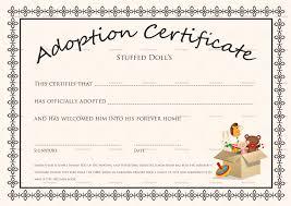 Pet Adoption Certificate Template Doll Adoption Certificate Template
