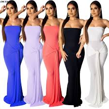 <b>2019 women strapless</b> tie up waist <b>sexy</b> party maxi dress knitted ...