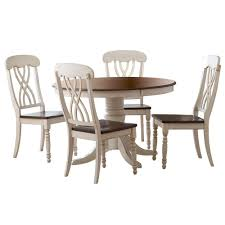 round dining table and chairs. HomeSullivan 5-Piece Antique White And Cherry Dining Set Round Table Chairs