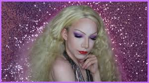 purple glitter 70 s disco inspired male to female drag queen makeup tutorial you