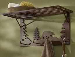 Evergreen Coat Rack Bear Silhouette Coat Rack with Shelf Wild Wings 57