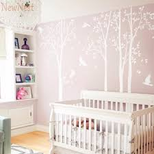 five huge white tree wall decal vinyl stickers birds decals baby nursery bedroom wall art mural