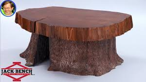 slab coffee table with tree trunk base 5 s in one