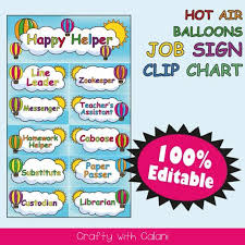 Classroom Chore Chart Classroom Job Sign Clip Chart Hot Air Balloon Classroom Classroom Happy Helpers Template Hot Air Balloon Job Chart Classroom Printable