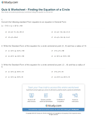 print how to find the equation of a circle worksheet
