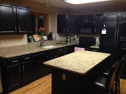 Dark Laminate Flooring In Kitchen By Dark Brown Wooden Islands Dark Kitchen Cabinets Granite Beige