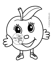 Small Picture Apple character Fruits coloring pages simple for kids printable