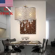 us stock drum chandelier crystal 4lights ceiling hanging lamp pendant light 40cm