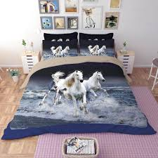 horse bedding horse bedding sets animal duvet cover fitted sheet pillowcases us queen king size 3 4