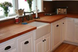 flat grain cherry with oil finish and a sink