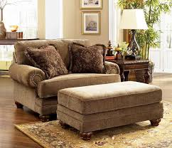 Large Chairs For Living Room Large Living Room Chair In Brown Color Completed With Ottoman