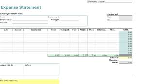 Expense Statement Template Download Travel Expense Report