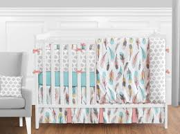 sweet jojo modern pink gray yellow aqua feather girls 9pc crib baby bedding set 1 of 3only 1 available see more