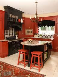 red and black kitchen designs. inspiration for a timeless kitchen remodel in baltimore with red cabinets, raised-panel cabinets and black designs o