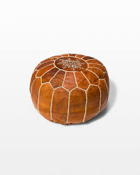 front view of colby brown leather pouf