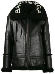 balenciaga le arr leather jacket with shearling in black