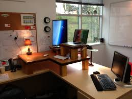 ... Furniture Hip Homemade L Shaped Two Person Desk With Moni Shade Lamps  Also Laptop Shelves In ...