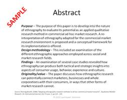 Abstract research paper sample