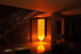 orange coloured fibre optic chandelier