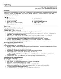 Sheet Metal Worker Resume Example