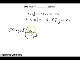 Unit Conversion Kilocalories Calories Or Kcals To Joules