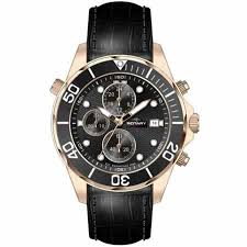 rotary aquaspeed watch gold plated case black leather mens rotary aquaspeed watch gold plated case black leather strap and black chronograph dial