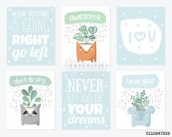 Vector Set Of Cute Postcards With House Plant In Funny Animal Pot