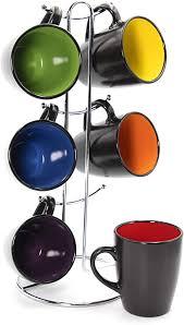 10oz mug cups cute cartoon panda mug set for kids. Amazon Com Rainbow Color 8 Oz Americano Hanging Coffee Mug Set With Metal Tree Black Multi Colored Hand Glazed Ceramic Stoneware Coffee Cups Mugs