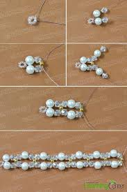 glass bead and white pearl bead on the two side of the wire separately 5th repeat the same ways to make other part until the length is enough for you