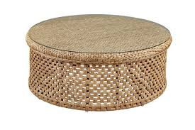 round rattan coffee table glass top