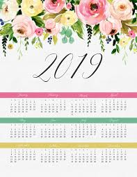 one page calender free printable 2019 pretty floral one page calendar the cottage market