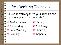 Prewriting Techniques The Writing Process An Overview The Writing Process Pre