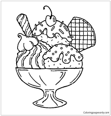 You can simply choose the simple coloring sheets as ice cream truck, banana split, ice cream floats, up to the more complex one such as multi layer ice cream cone, ice thanks for making these pages easy to get. Ice Cream Served With Wafer And Whipped Cream Coloring Pages Food Coloring Pages Free Printable Coloring Pages Online