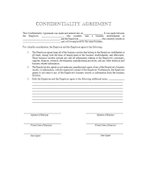 Employee Confidentiality Agreement Example. Company Employee ...