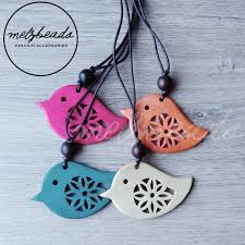 wooden bird pendant necklace