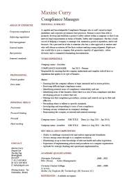 Compliance Manager Resume Template Cv Example Text Hr Officer
