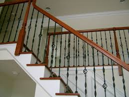 Stairs, Excellent Stair Railings Metal Interior Stair Railings Traditional  Staircase And Crisp White Painted Wall